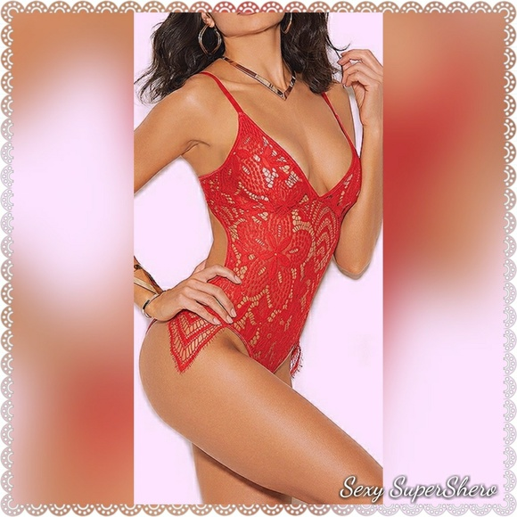 257a900cedd992 🆕Sexy Red Scalloped Lace Lingerie Teddy. Boutique. Sexy SuperShero